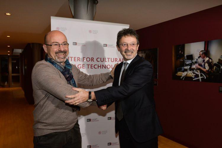 Cingolani di IIT e Bugliesi di Ca'Foscari all'inaugurazione di CCHT@Ca'Foscari Venezia